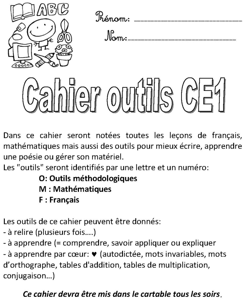 CAHIER OUTILS CE1